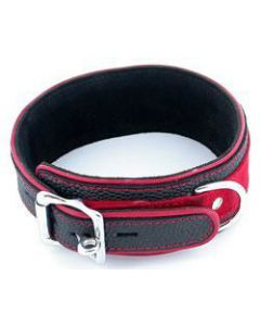 One Leather Neck Bondage Collar Restraint with Red Accents BDSM