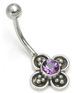 """14g 7/16"""" Onyx Flower Sterling Silver Navel Belly Jewelry"""