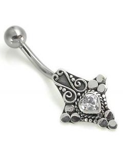 Bali Heart Sterling Silver Belly Button Jewelry