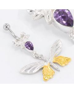 "Butterfly GOLD PLATED 14g 7/16"" Belly Button Jewelry"