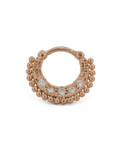 16g Septum Clicker – Rose Gold Plated Jeweled Fan Ring 1