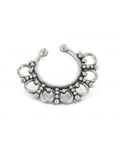 Sterling Silver Detailed Septum Ring or Earring - Clip On