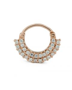 16g Septum Clicker – Two-tier Jeweled Rose Gold Plated Ring 1
