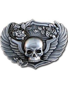Winged Skull with Roses Antiqued Belt Buckle