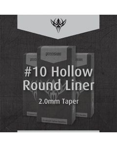 #10 BugPin Hollow Round Liner 2.0mm Taper Sterilized Tattoo Needles – Box of 50