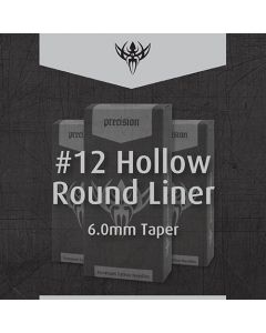 #12 Hollow Round Liner 6.0mm Taper Sterilized Tattoo Needles – Box of 50
