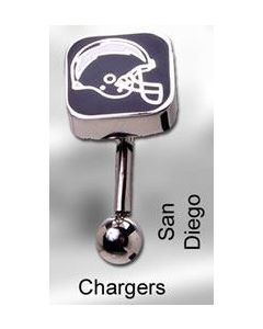 "14g 7/16"" NFL Reverse Top Down Belly Button Ring – San Diego Chargers"