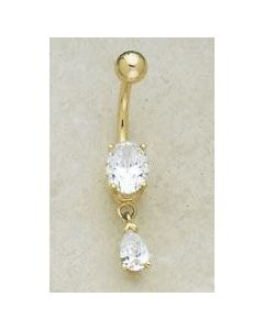 14kt Yellow or White Gold Oval with Pear Dangle Navel Jewelry - Custom Made - Price Per 1