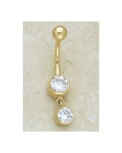 14kt Yellow or White Gold Double Circle Dangle Navel Jewelry - Custom Made - Price Per 1