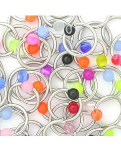 14g Acrylic Captive Rings- Price Per 10