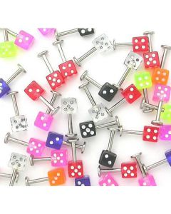 """You won't be taking a gamble when you choose our dice labret deal. A 14g (1.6mm), 5/16"""" (8mm) comes adorned with 1 acrylic die end. The die has a 1.6mm thread pattern, making it easy to thread the end onto any labret that has the same 1.6mm thread pattern"""