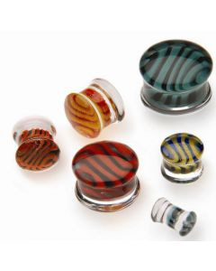 Tiger Stripe Double Flare Borosilicate Glass Plug - Custom Made - Price Per 1