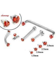 14kt WHITE Gold Internally 1.2mm Threaded LT. RED Prong Set Stones