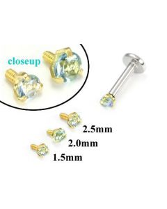 18g-16g Internally Threaded Replacement YELLOW GOLD PRONG Lt. Blue