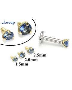 18g-16g Internally Threaded Replacement YELLOW GOLD PRONG Dk. Blue