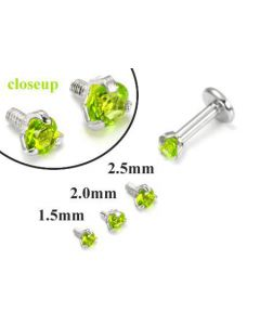 18g-16g Internally Threaded Replacement WHITE GOLD PRONG Lt. Green