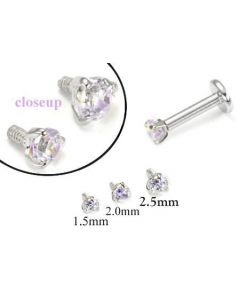 18g-16g Internally Threaded Replacement WHITE GOLD PRONG Lavender