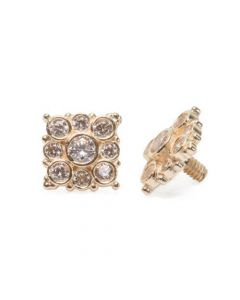 Internally Threaded 14kt Yellow Gold Effloresce Crystal Jeweled Top