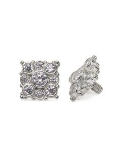 Internally Threaded 14kt White Gold Effloresce Crystal Jeweled Top