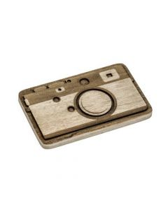 Camera Engraved Wooden Belt Buckle on Crocodile Wood