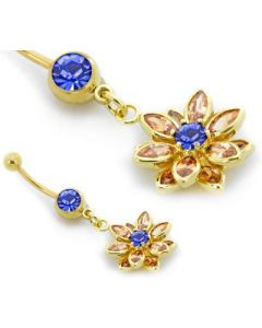 """14g 7/16"""" Gold Tone Dark Blue Jewel Belly Button Ring with Flower Cluster Charm Closer View"""
