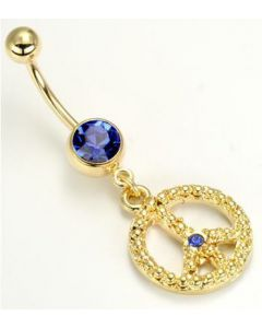 """14g 7/16"""" Gold Tone Dark Blue Jewel Belly Button Ring with Peace Sign Charm"""