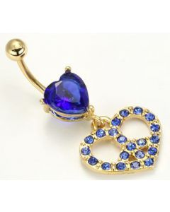 """14g 7/16"""" Dark Blue Prong Set Heart Charm Belly Button Ring with Heart Dangle Charm"""