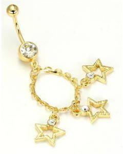 """14g 7/16"""" Gold Tone Crystal Jewel Belly Button Ring with 3 Star Charms"""