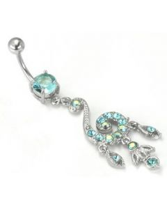 "14g 5/16"" Posh Dangle Charm Prong-Set Jewel Belly Button Ring"