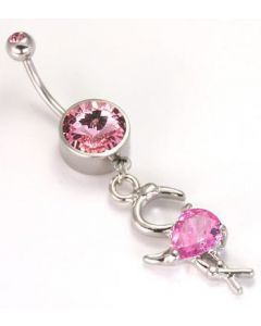 "14g 7/16"" Flamingo Belly Button Ring"