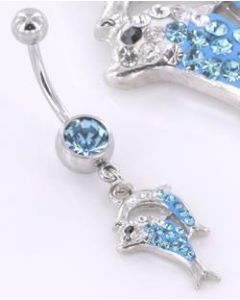"14g 7/16"" Crystal Explosion Dolphin Charm Belly Jewelry"