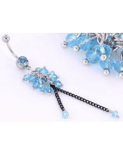 """14g 7/16"""" Dazzling BEADS Dangle Belly Ring"""