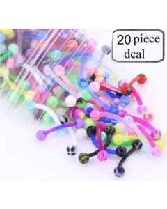 "16g 3/8"" Eyebrow PTFE Bent Barbells with Acrylic Balls - Price Per 20"