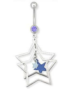 Blue Jewel with 4 Star Cluster Dangle Belly Button Ring