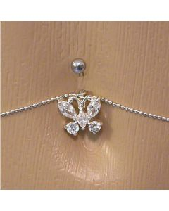 Crystal Butterfly Belly Button Ring with Belly Chain