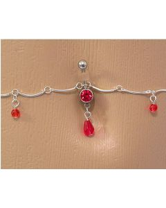 Red Jewel with Teardrop Dangle Belly Button Ring with Belly Chain