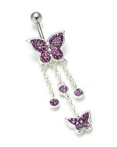 Crystal Explosion Double Butterfly Dangle Belly Button Ring