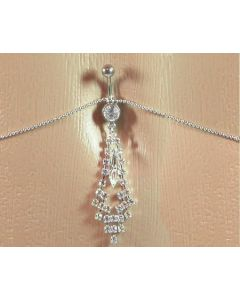 Crystal Jewel with Divine Crystal Dangle Belly Button Ring with Belly Chain