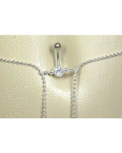 Crystal Jewel with Simple Butterfly Dangle Belly Button Ring with Belly Chain