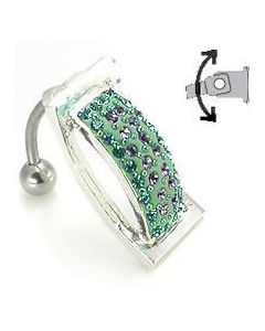 Crystal Explosion Hinged Wrap Belly Button Ring