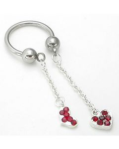 "14g 1/2"" Circular Barbell with Dangling Red Heart Charms – Price Per 1"