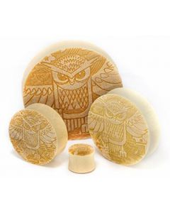 Owl Engraved on Solid Plug - 10mm - 76mm - Price Per 1