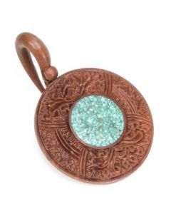 Saba Wood Window of Life Hanger with Crushed Turquoise 3mm - 12mm – Price Per 1