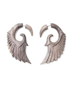 Tamarind Wood Hooked Seraphim Wing Cheater Earring