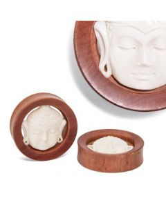 Carved Bone Buddha Presence Saba Wood Plug