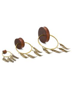 Four Feather Charmed Ring on Solid Tiger Wood Double Flare Plug 1
