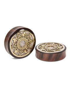 Brass Indonesian Flower Sono Wood Plug with Marble Inlay