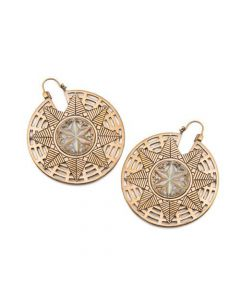 18g Star-Patterned Brass Earrings with Mother of Pearl Inlay