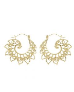 18g Gold Plated Lotus Wave Earrings – Thumbnail