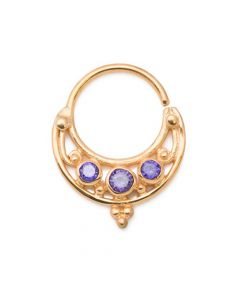 Purple Jeweled Lunar Gold Plated Bendable Septum Ring (Thumbnail)